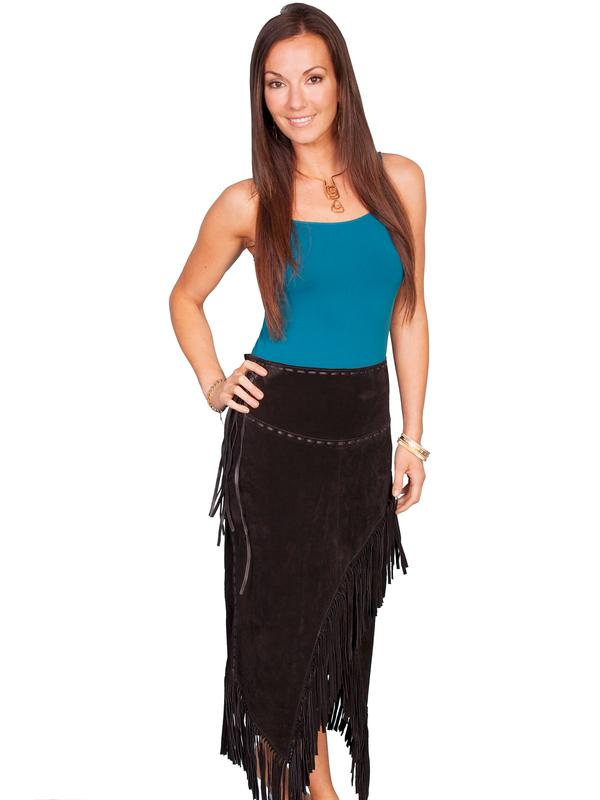 A A Scully Ladies' Leather Suede Skirt: Western Fringe Wrap Black
