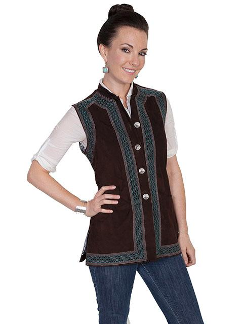 A Scully Ladies' Leather Suede Vest: Embroidered with Silver Buttons Expresso SALE