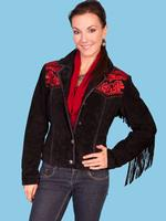ZSold Scully Ladies' Leather Suede Jacket: Floral Embroidery Red w Fringe on Black Red M SOLD