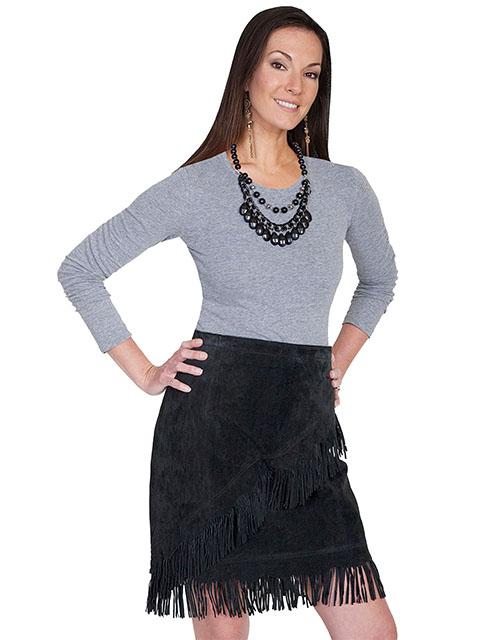 A A Scully Ladies' Leather Suede Skirt: Western Fringe Black XS-2XL