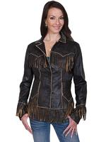 A Scully Ladies' Leather Jacket: Western Fringe Tooled Jacket Brown S-2XL