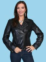 ZSold Scully Ladies' Leather Jacket: Motorcycle Zip Style Black M SOLD