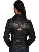 A Scully Ladies' Leather Jacket: Motorcycle Lamb Zip Details Black S-2XL