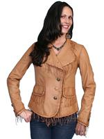 ZSold Scully Ladies' Leather Jacket: Blazer w Fringe Ranch Tan M, XL-2XL SOLD