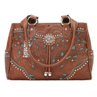 American West Handbag Lady Lace Collection: Leather Multi-Compartment Organizer Tote Antique Brown & Turquoise