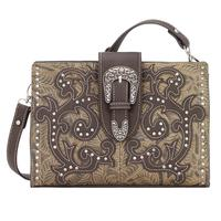 Bandana Handbag Laramie Collection: Floral Embossed Shoulder Clutch Sage