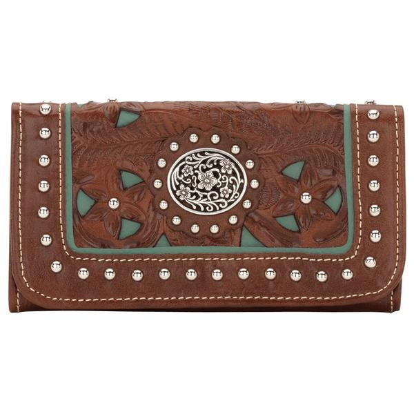 American West Handbag Lady Lace Collection: Leather Tri-Fold Wallet Antique Brown & Turquoise