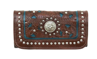 American West Handbag Lady Lace Collection: Leather Tri-Fold Wallet Dark Brown & Turquoise