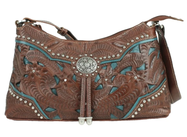 American West Handbag Lady Lace Collection: Leather Zip Top Shoulder Bag Dark Brown & Turquoise