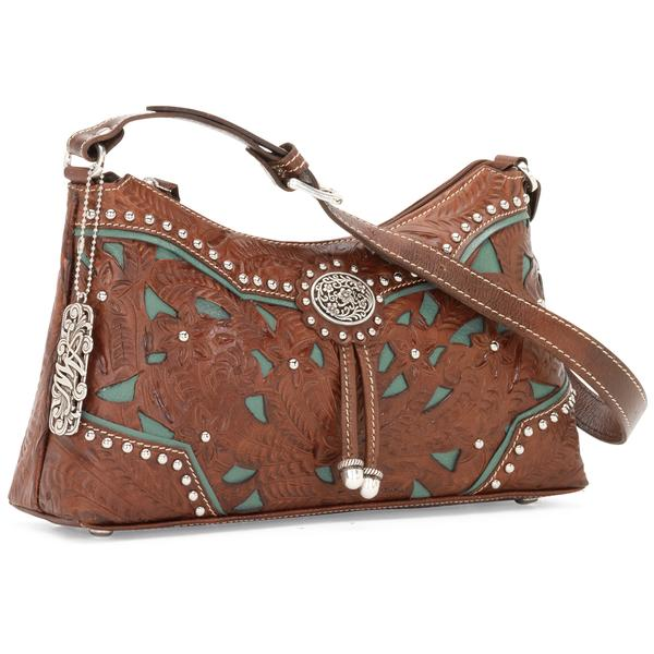 American West Handbag Lady Lace Collection: Leather Zip Top Shoulder Bag Antique Brown & Turquoise