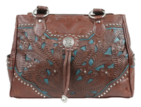American West Handbag Lady Lace Collection: Leather Multi-Compartment Organizer Tote Dark Brown & Turquoise