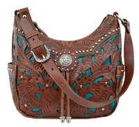 American West Handbag Lady Lace Collection: Leather Zip Top Hobo Dark Brown and Turquoise