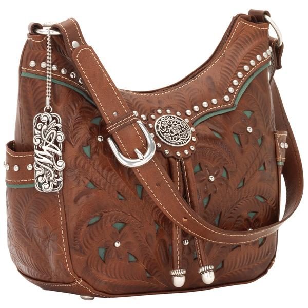 American West Handbag Lady Lace Collection: Leather Zip Top Hobo Antique Brown and Turquoise
