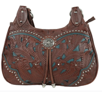 American West Handbag Lady Lace Collection: Leather Zip Top 3 Compartment Scoop Tote Dark Brown and Turquoise