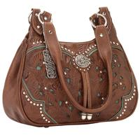 American West Handbag Lady Lace Collection: Leather Zip Top 3 Compartment Scoop Tote Antique Brown and Turquoise