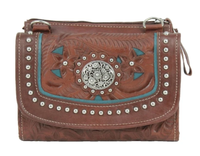 American West Handbag Lady Lace Collection: Leather Crossbody Bag or Wallet Dark Brown and Turquoise