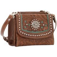 American West Handbag Lady Lace Collection: Leather Crossbody Bag or Wallet Antique Brown and Turquoise