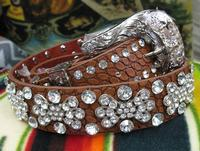 Leather Belt Fashion Accessory: Crystal Clusters and Cowgirl Silver Tone Buckle S/M, L/XL
