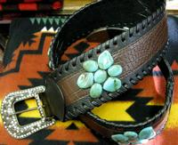 Leather Belt Fashion Accessory: Wide Belt with Turquoise and Buckle with Crystals