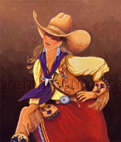 TXLC Custom Tile Magnet Western: Let's Rodeo Cowgirl Special Order