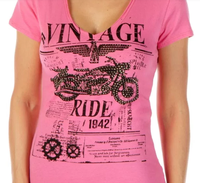 Liberty Wear T-Shirt: Vintage Ride Pink