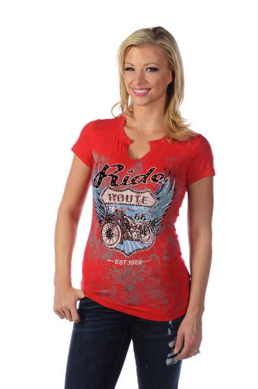 Liberty Wear T-Shirt: Bikin' Route 66 Red 3XL SALE