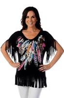 Liberty Wear Top: Feathers & Fringe Black S-4XL