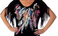 Liberty Wear Top: Feathers & Fringe Black