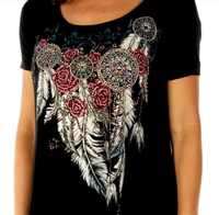 Liberty Wear T-Shirt: Feathers & Conchos Black