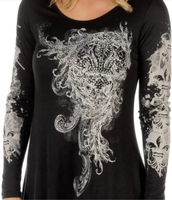 Liberty Wear Top: Fleur de lis Black DEAL
