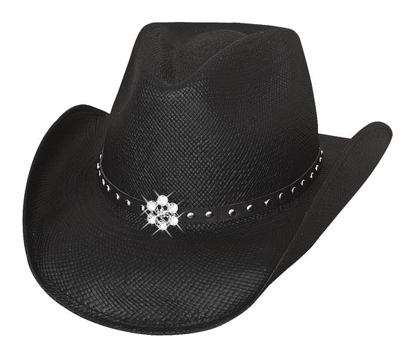 Bullhide Hats Lil' Pardner Collection: Straw Palm All American Girl Black S-M/ L-XL