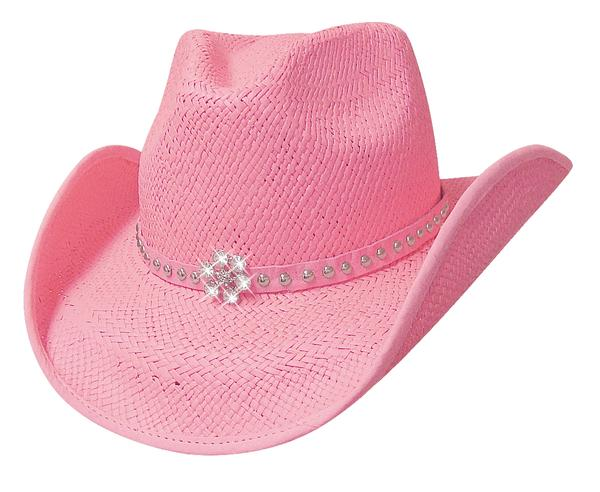 Bullhide Hats Lil' Pardner Collection: Straw Palm All American Girl Pink S-M/ L-XL