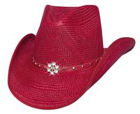 Bullhide Hats Lil' Pardner Collection: Straw Palm All American Girl Red S-M/ L-XL