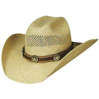 Bullhide Hats Gunfighters Collection: Straw Genuine Panama Lone Gunman Natural S-XL