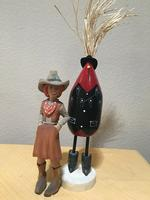 Navajo Folk Art: Edith John Chicken Cowboy Standing Medium Red