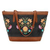 Bandana Handbag Maya Collection: Nubuck Zip Top Tote Charcoal Terracotta