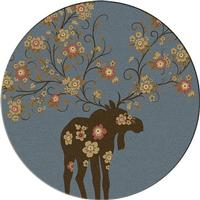 American Dakota Rug: National Park Collection Moose Blossom Blue 8' Round Drop Ship