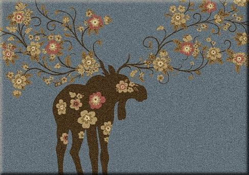 American Dakota Rug: National Park Collection Moose Blossom Blue 4x5 Drop Ship