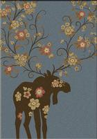 American Dakota Rug: National Park Collection Moose Blossom Blue 5x8 Drop Ship