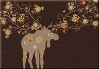 American Dakota Rug: National Park Collection Moose Blossom Chocolate 4x5 Drop Ship
