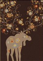 American Dakota Rug: National Park Collection Moose Blossom Chocolate 8x11 Drop Ship