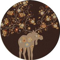 American Dakota Rug: National Park Collection Moose Blossom Chocolate 8' Round Drop Ship