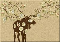 American Dakota Rug: National Park Collection Moose Blossom Natural 3x4 Scatter Drop Ship