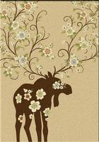 American Dakota Rug: National Park Collection Moose Blossom Natural 5x8 Drop Ship