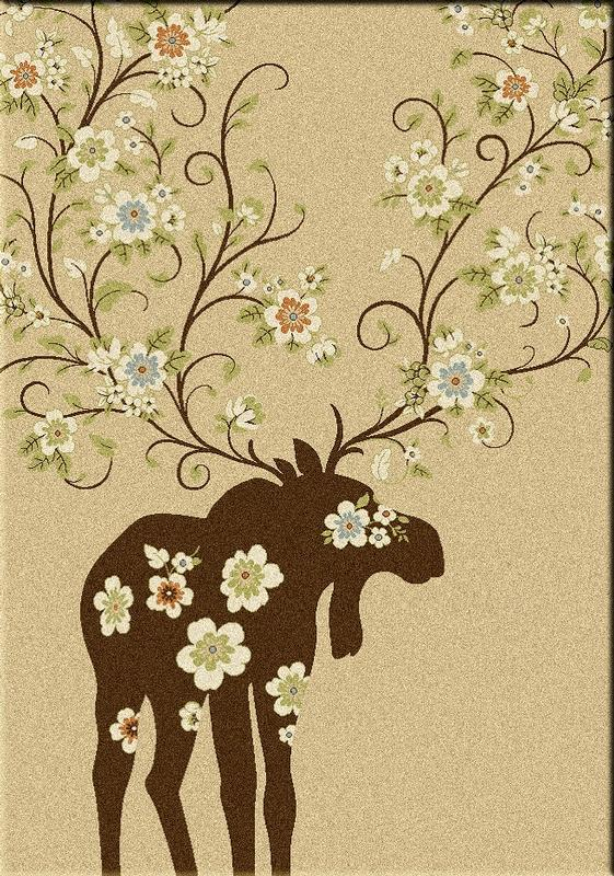 American Dakota Rug: National Park Collection Moose Blossom Natural 8x11 Drop Ship