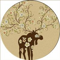 American Dakota Rug: National Park Collection Moose Blossom Natural 8' Round Drop Ship