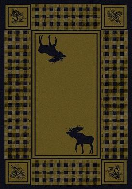 American Dakota Rug: Cabin & Camp Collection Refuge Moose Green 4x5 Drop Ship