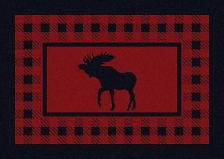 American Dakota Rug: Cabin & Camp Collection Refuge Moose Red 3x4 Scatter Drop Ship