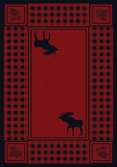 American Dakota Rug: Cabin & Camp Collection Refuge Moose Red 5x8 Drop Ship