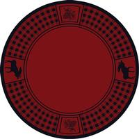 American Dakota Rug: Cabin & Camp Collection Refuge Moose Red 8' Round Drop Ship
